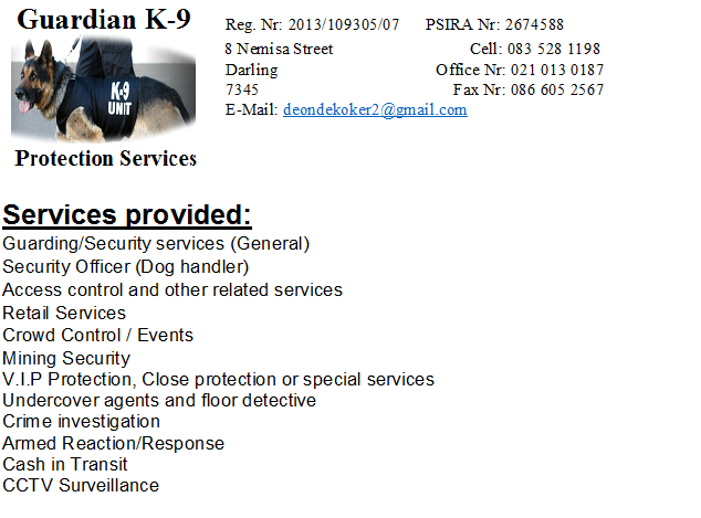 Guardian K-9 Protection Services